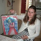 Angel bag painted (Flute) for Amber on Christmas Day by Penny Hetherington