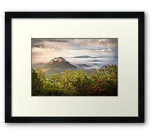 Looking Glass Rock at Sunrise w/ Fog - Blue Ridge Parkway Framed Print