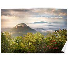 Looking Glass Rock at Sunrise w/ Fog - Blue Ridge Parkway Poster