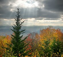 Blue Ridge Parkway Photography - Autumn Light Rays by Dave Allen