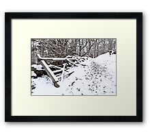 Fence in the Snow Framed Print