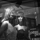 Window Display Pizza BW by Randall Nyhof