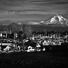 Mt. Hood Over Hayden Island 02 by RIDGEWORKS