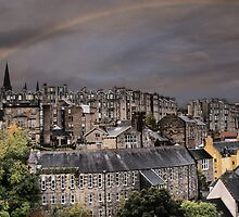 Rainbow Over Dean Village, Edinburgh by Sandra Cockayne