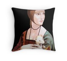 """Copy of """"Lady with Ermine"""" by DaVinci 1489 Throw Pillow"""