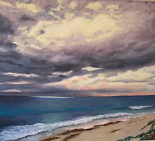 Sunrise on a Stormy Beach by Brita Lee