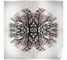 Winter Storm Tree Ink Blot Poster