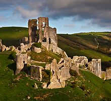 Corfe castle in dappled sunlight by Shaun Whiteman