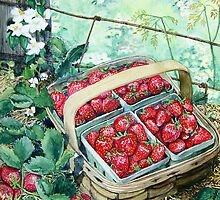 Strawberries in a Basket by clotheslineart