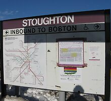 Stoughton's T map and Commuter Rail Schedule at Station by Eric Sanford