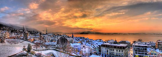 Swiss Winter Sunset by Luke Griffin