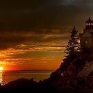 Bass Harbor Head Light House at Sunset by Oscar Gutierrez