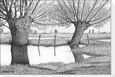 HOLLAND WATERLAND - PEN DRAWING by RainbowArt