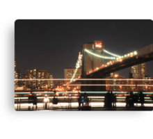 Brooklyn Bridge and Lower Manhattan at Night Canvas Print