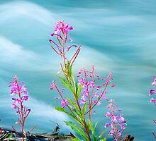 Fireweed and Stream by Oscar Gutierrez