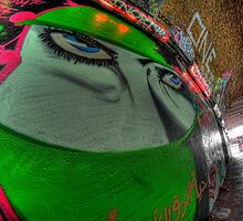 Graffiti, Islamic woman in green by Guy Carpenter