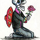 Romantic Singing Skeleton Mariachi with Rose by Candace Byington