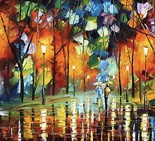 ALLEY OF THE MEMORIES - Original Art Oil Painting By Leonid Afremov by Leonid  Afremov
