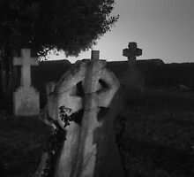Black And White Spooky Grave Yard by Nick Martin