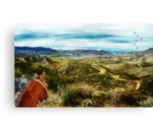 View of Vail Lake on Horseback Canvas Print