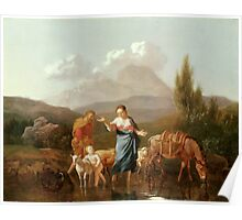 Holy Family at a Stream by Karel Dujardin Poster