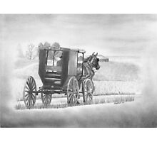 """""""A Country Ride"""" Amish buggy on a country road.  Photographic Print"""