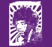 Jimmi Hendrix Lino Print by Steve Lambert