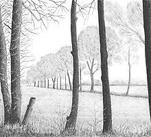 WINTER IN THE DUTCH COUNTRY SIDE PEIZE - PEN DRAWING by RainbowArt