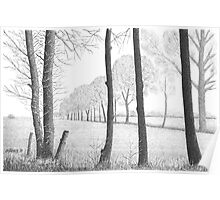 WINTER IN THE DUTCH COUNTRY SIDE PEIZE - PEN DRAWING Poster