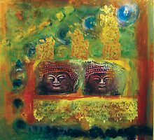 Buddha Brothers Two by Marti   Schmidt
