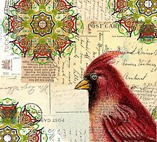 Collaged Old Letters and Cardinal by angelandspot