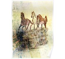 Horses.Vintage Card. Poster