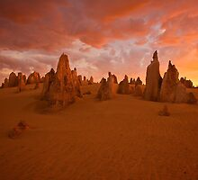 Pinnacles at sunset. by Peter Hodgson