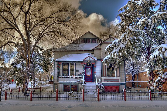 The Decorated Little House in The Snow by Diana Graves Photography