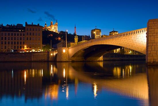 Fourviere Hill and Bonaparte Bridge - Lyon, France by Yen Baet