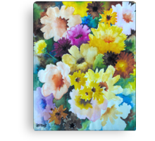 CHRYSANTHEMUMS AND ASTERS - AQUAREL Canvas Print
