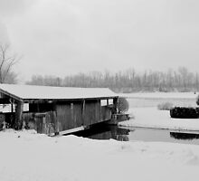 Covered Bridge In Winter B&W by Superflypapi