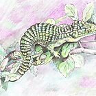 Green lizard by Sally O'Dell