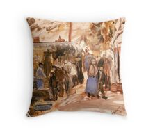Old Market in Bordeaux 1888 Throw Pillow