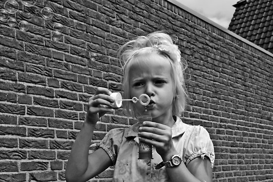 Soap bubble girl by heinrich