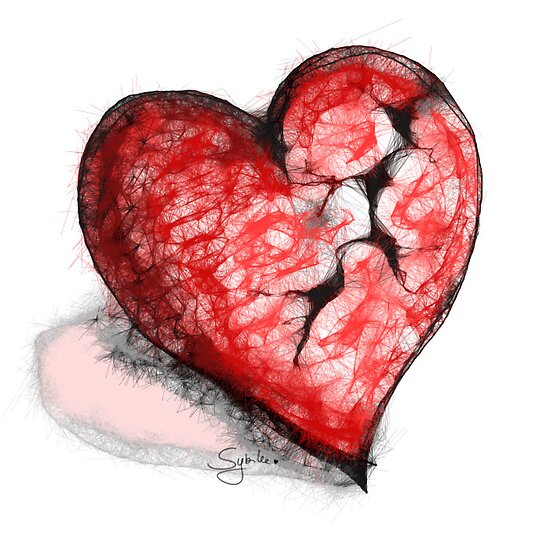 Broken Heart Scribbler Original by Sybille Sterk