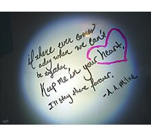 Whiteboard Love: Keep me in your heart... Photographic Print