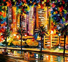 Night Lights Of Miami - original oil painting on canvas by Leonid Afremov by Leonid  Afremov