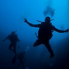 Scuba Divers in Lost Blue Hole, Nassau, Bahamas by Shane Pinder
