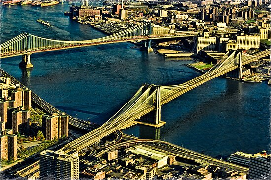 The Bridges and The East River, New York, USA by Chris Lord
