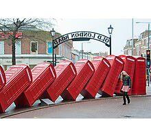 Lean on Me: Telephone Boxes: Kingston, UK. Photographic Print