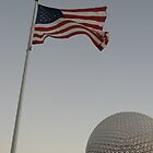 WDW Spaceship Earth and American Flag by chewi