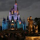 WDW Magic Kingdom Castle & Walt at night by chewi