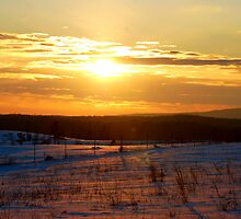Sunset on the snow by barnsis