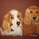 Cocker Spaniels, Nala and Brandy by Hilary Robinson